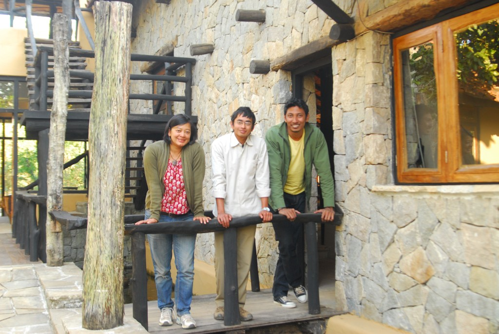 With Chinmay & Ashish (manager of the Satpura property) at the Kanha Earth Lodge