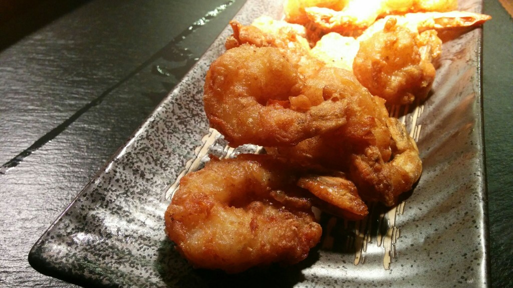 The delicious golden fried prawns